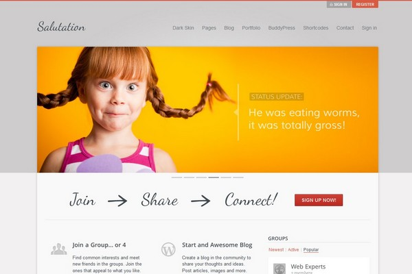 Salutation - A WordPress and BuddyPress Theme