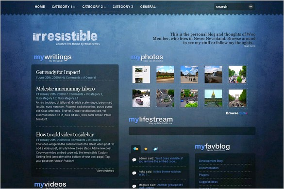 Irresistible is a free WordPress Themes by Woo Themes