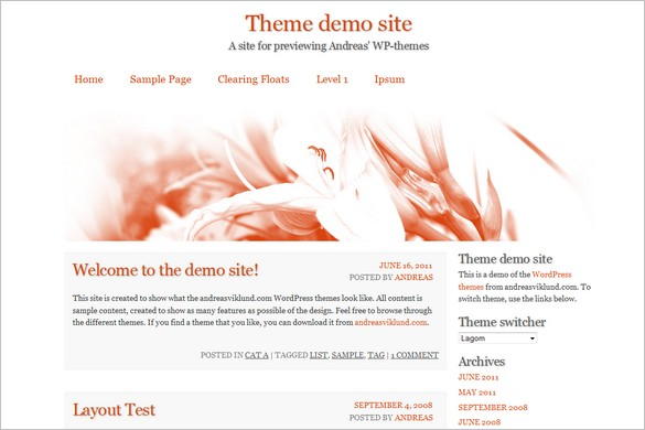 Lagom is a free WordPress Theme by Andreas Viklund