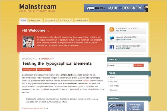 Mainstream is a free WordPress Theme by Woo Themes