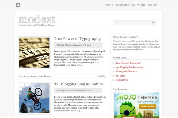 Modest is a free WordPress Theme by MOJO Themes