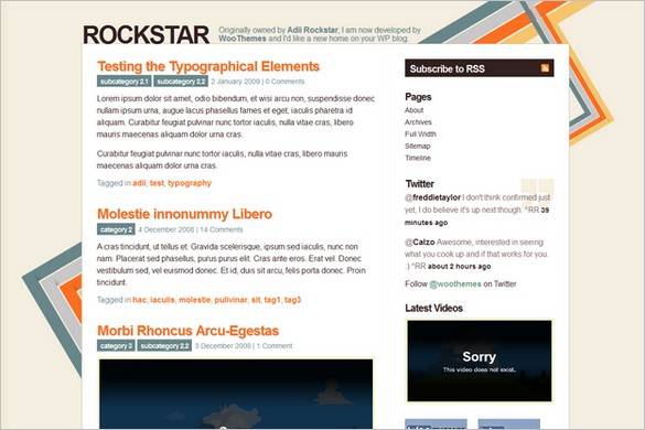 Rockstar is a free WordPress Theme by Woo Themes