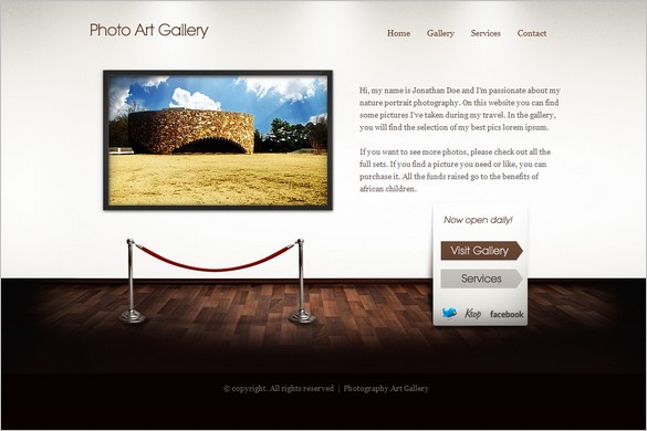 Art Gallery is a One Page WordPress Theme