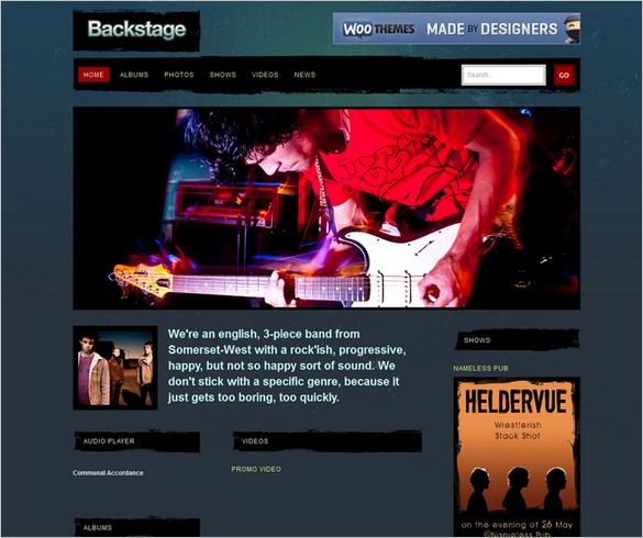 Backstage is a WordPress Theme for musicians and artists