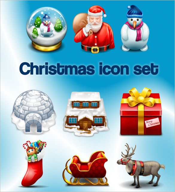 a set of free Christmas Icons By Iconshock.com