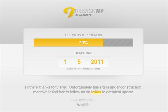 BeBack is a free Coming Soon WordPress Theme