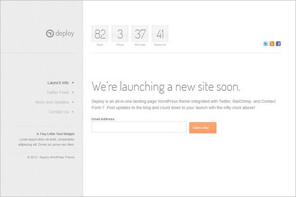 Deploy is a premium Coming Soon WordPress Theme