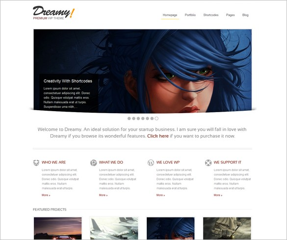 Dreamy - A Creative Premium WordPress Themes