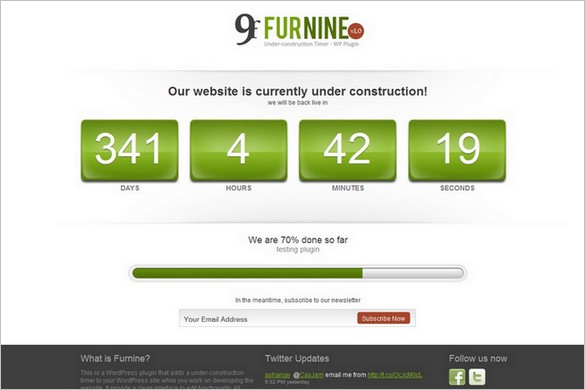Furnine Under Construction Timer is a premium WordPress Plugin