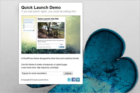 Quicklaunch is a free Coming Soon WordPress Theme