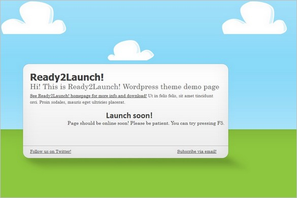 Ready2Launch is a free Coming Soon WordPress Theme