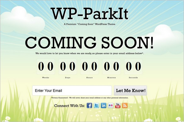 WP-ParkIt is a premium Coming Soon WordPress Theme