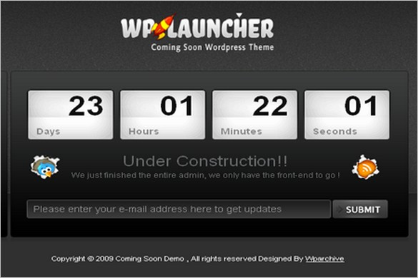 WpLauncher is a free Coming Soon WordPress Theme