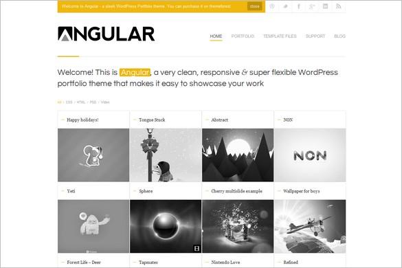 Angular is a Responsive Portfolio WordPress Theme