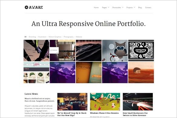 Aware is a Responsive WordPress Portfolio Theme