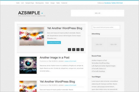 AzSimple is a free WordPress Theme (GPL)