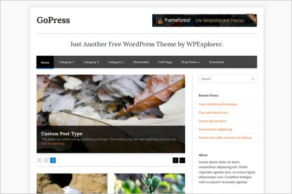GoPress is a free WordPress Theme by WPExplorer