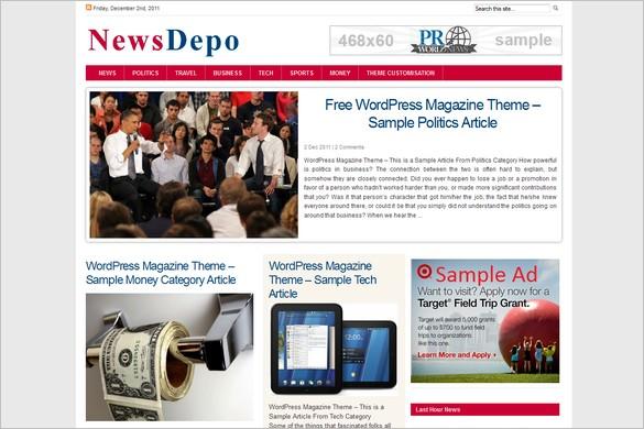 NewsDepoRed is a free GPL WordPress Theme