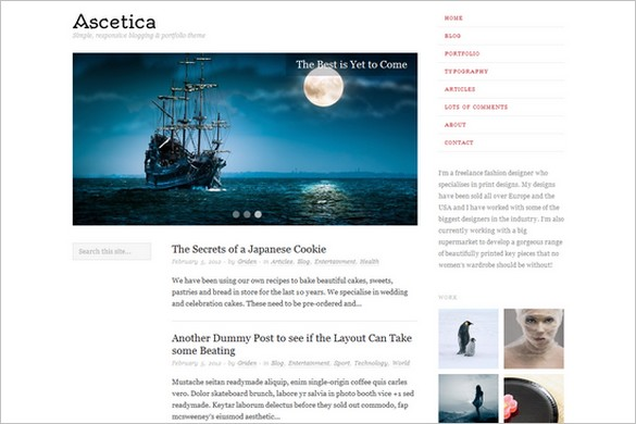 Ascetica is a free WordPress Theme