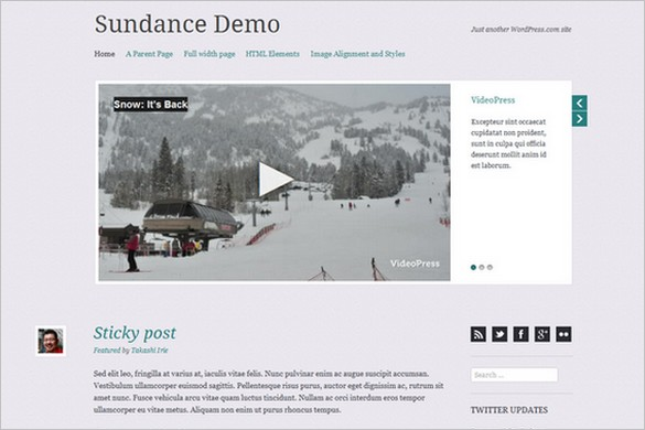 Sundance is a free WordPress Theme by Automattic