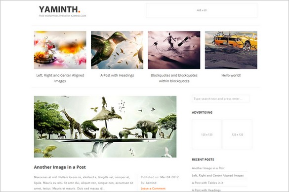 Yaminth is a free GPL WordPress Theme