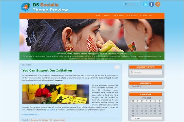 D5 Socialia is a free Organizations WordPress Theme
