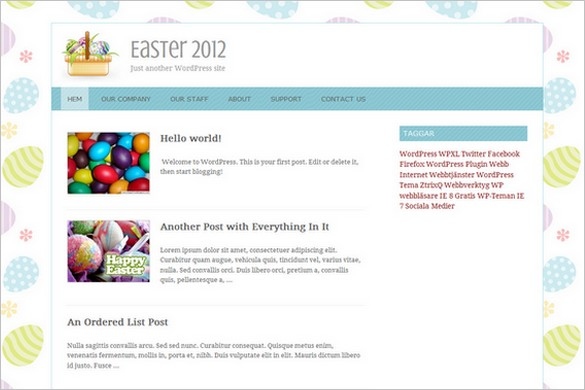 Easter 2012 is a free WordPress Theme by eFrog
