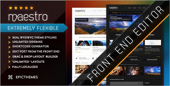 Maestro is a WordPress Theme with front end editor