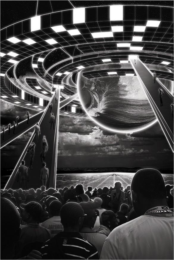 Create a free Glowing, Sci-Fi, Line Art Collage