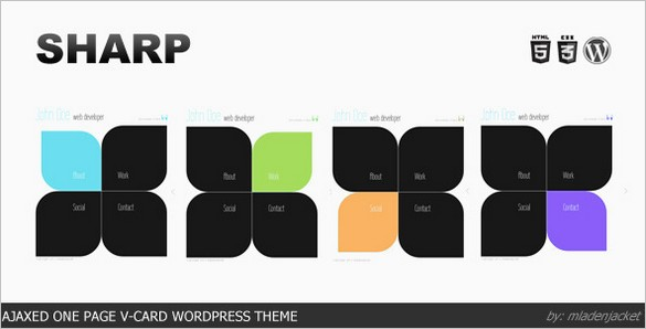 Sharp is a Ajaxed One Page vCard WordPress Theme