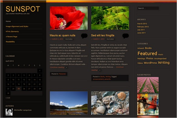 Sunspot is a free WordPress Theme from automattic