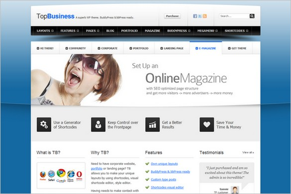 TopBusiness is a Top WordPress Theme from PandaThemes