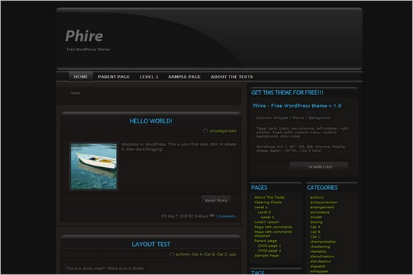 Black Phire is a free WordPress Theme