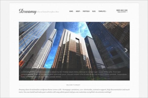 Dreamy is a Minimalist WordPress Portfolio Theme