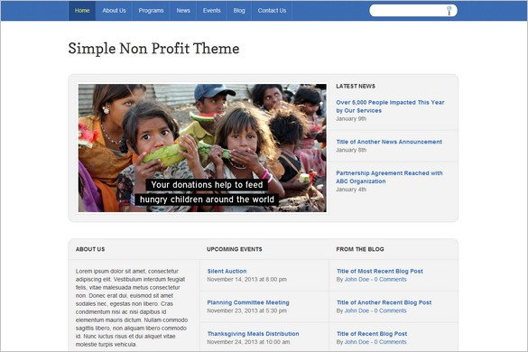 Simple Non-Profit is a free WordPress Theme