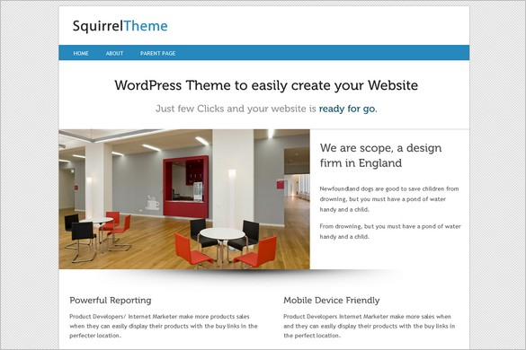 Squirrel is a free WordPress Theme