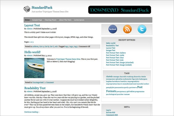 StandardPack is a free WordPress Theme