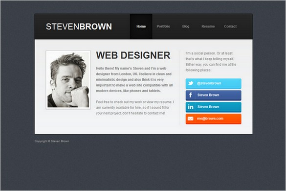 25 Smart And Professional Vcard Wordpress Themes  Wordpress Resume Themes