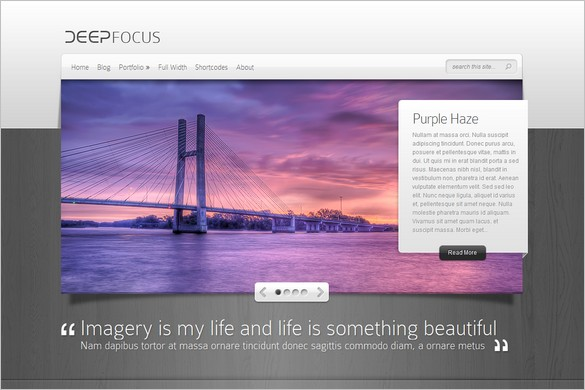 DeepFocus is a Photography WordPress Theme