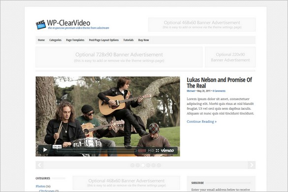 WP-ClearVideo is a Premium WordPress Theme