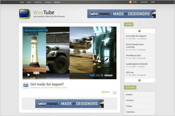 WooTube is a Video WordPress Theme