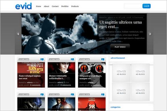 eVid is a Video WordPress Theme