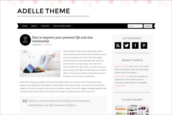 Adelle is a Free WordPress Theme from BluChic