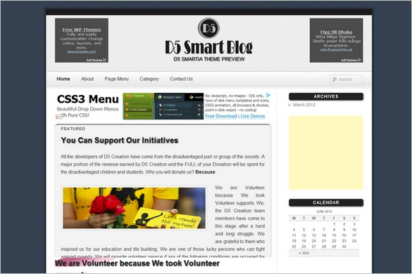 D5 Smartia is a free WordPress Theme