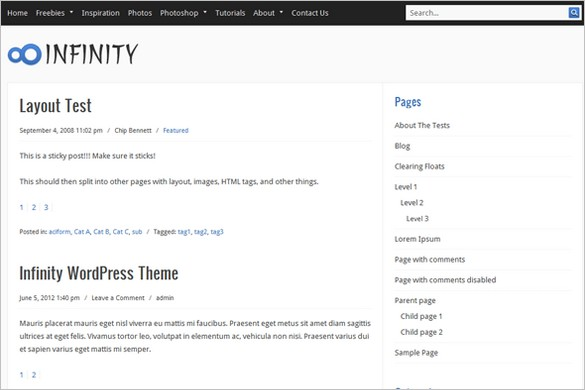 Infinity is a free WordPress Theme
