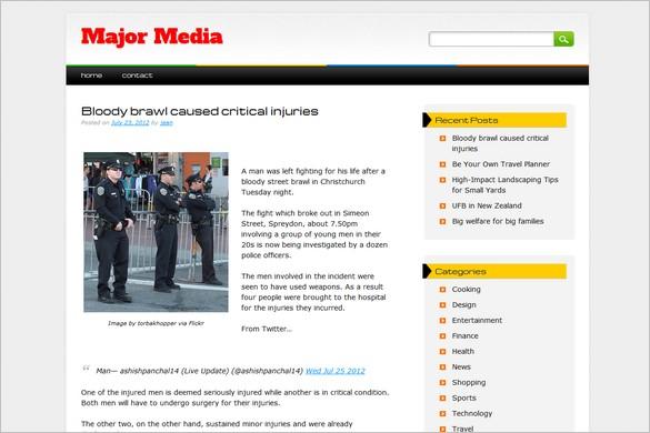 Major Media is a free WordPress Theme
