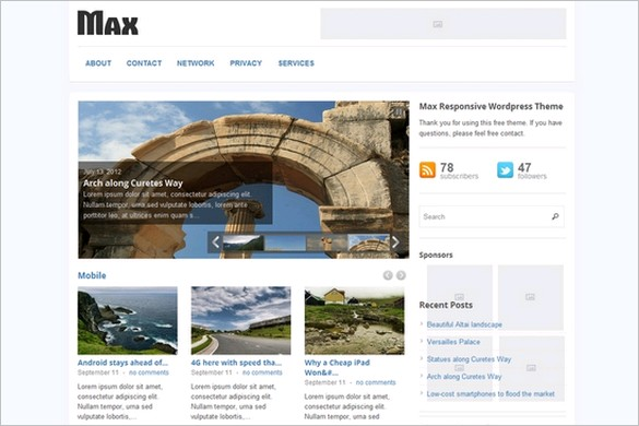 Max Responsive is a Free Magazine WordPress Theme by gazpo.com