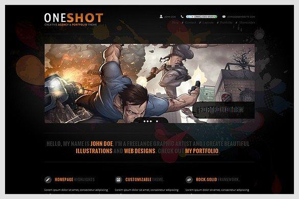 OneShot is a Portfolio WordPress Theme