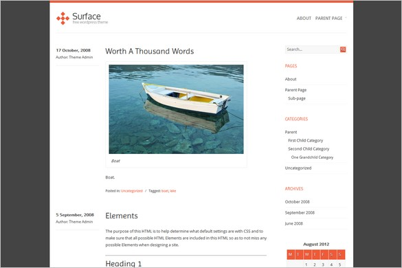 Surface is a free WordPress Theme