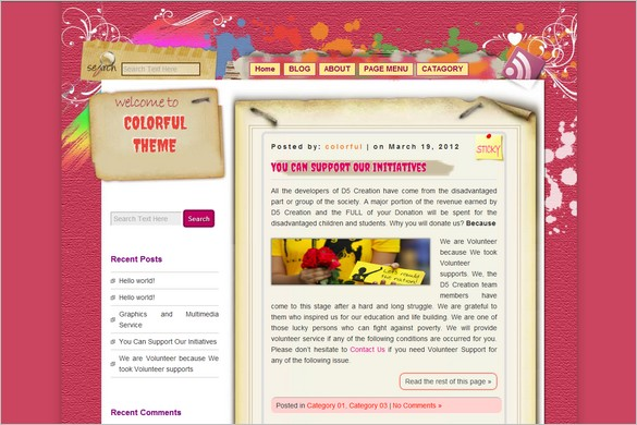 D5 COLORFUL is a free WordPress Theme